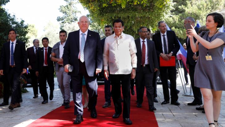 Philippine leader praises security ties with Israel